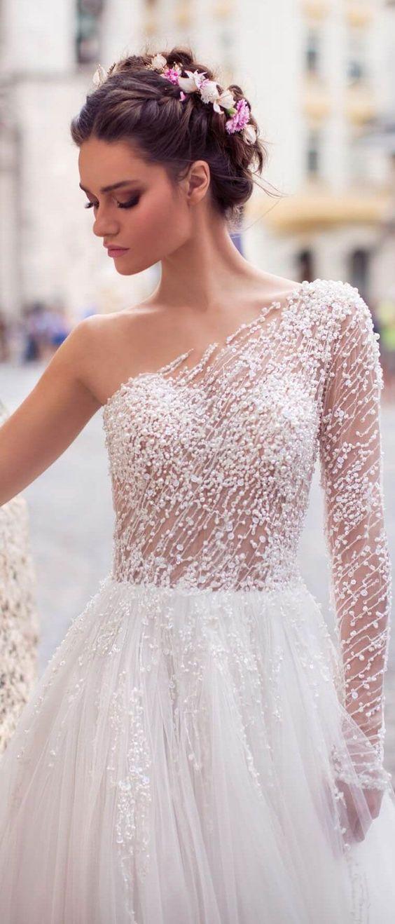 a line wedding dress One shoulder long sleeve
