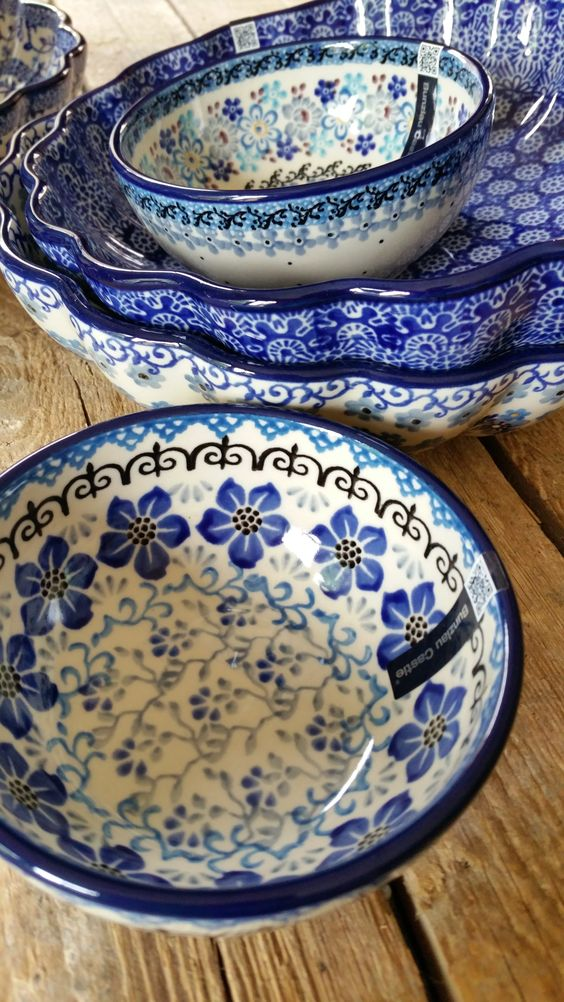 This Unikat Signature Polish Pottery is a Limited production from a small factory near Boleslawiec, Poland. The Model Pattern created using Boleslawiec White Clay molded and painted by hand according to Traditional Methods with Styles of Design and Color influenced by .