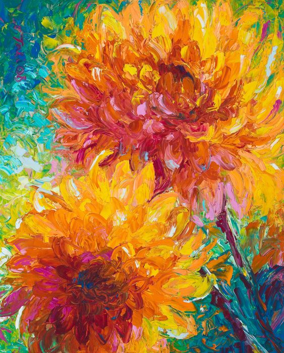This lively abstracted painting sure to live up to its name and bring blessings and energy into your life. Hang it where you need a bright spot of color and light. ~Tali