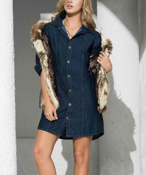 Look at this AM PM Indigo Denim Button-Up Dress on #zulily today!