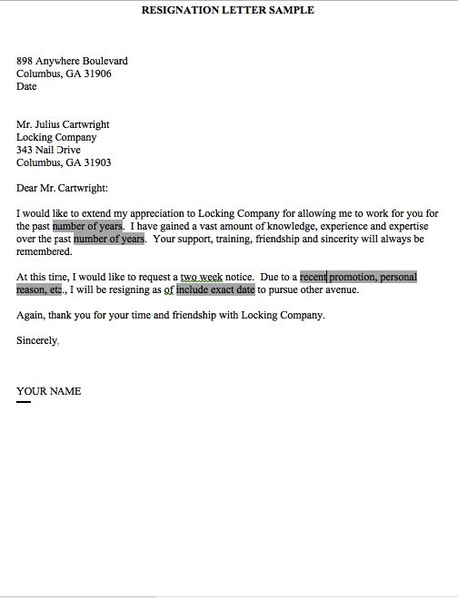 resignation letter sample 2 weeks notice two week notice form this example resignation letter 2 week notice we will give you a refence start on building resume you can optimized this example resume on creating resume
