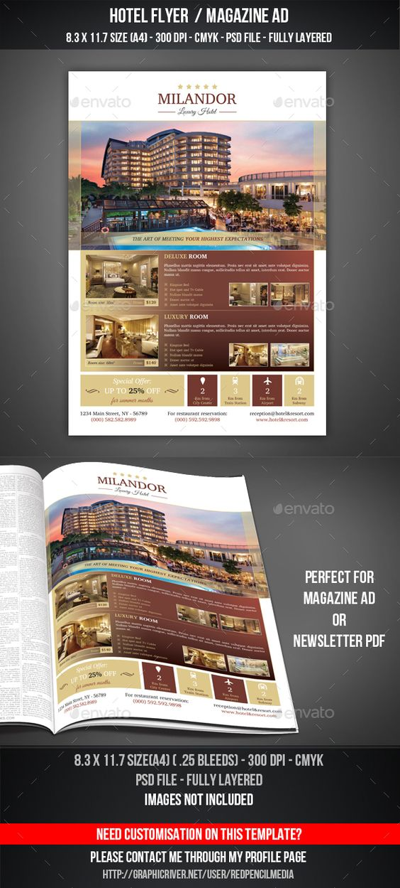 Hotel Flyer Magazine AD Features And Technical Specs O Print Size Inches Bleed Area Resolution 300 Dpi Color