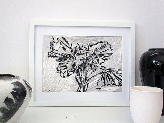 Black and White Art Original Art Ink Drawing Oil by InekedeVries
