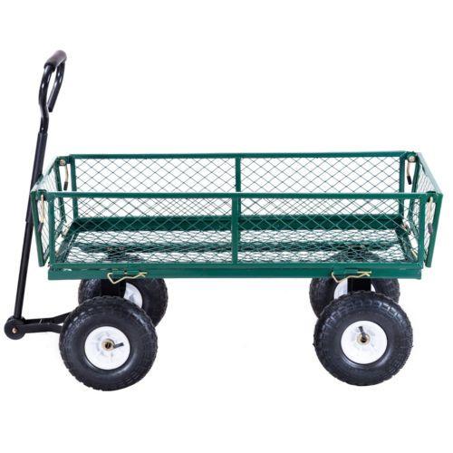Heavy Duty Steel Lawn Garden Utility Cart Wagon Yard Landscape Tractor Trailer Ebay Lawn And Garden Lawn Care Companies Aerate Lawn