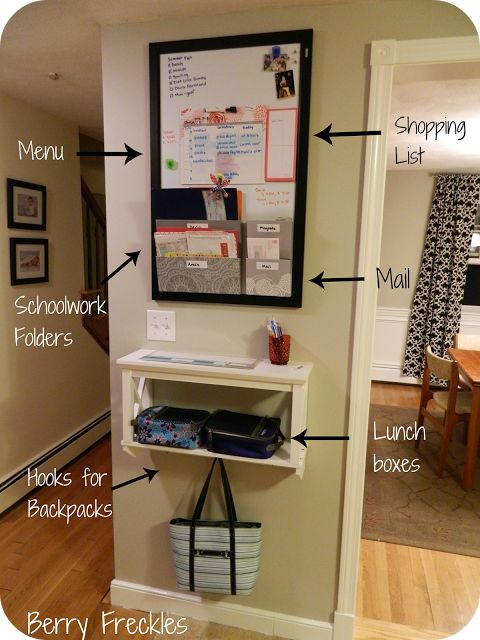 I absolutely adore this all in one home organizing wall.  Weekly dinner menu, purse and backpack depository, folders to organize bills, a shelf for keys and lunchboxes, it has it all!  Plus it would be super easy to duplicate since all it really is a big magnetic white board with hanging pockets, a double hanging shelf, and some hooks. <3