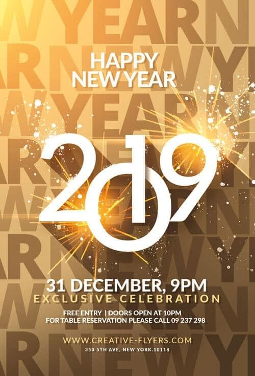 Happy New Year Flyer In 2020 Party Flyer New Year S Eve Flyer New Years Party