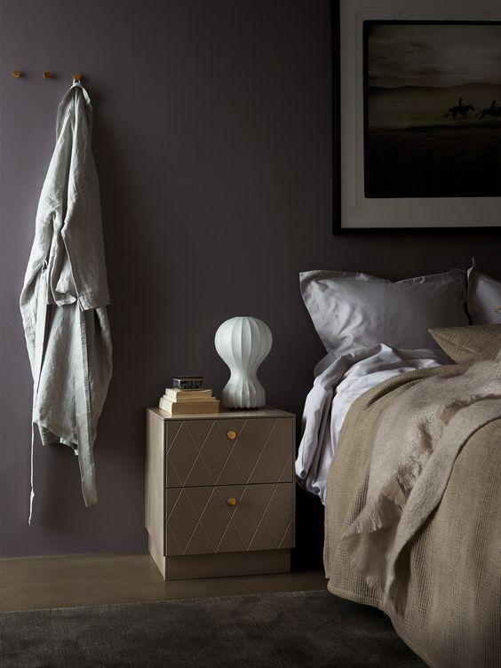 Beautiful Bedroom In Sober Tones The Silent Greige Bedside Table
