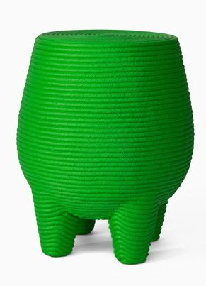 green knitted stool