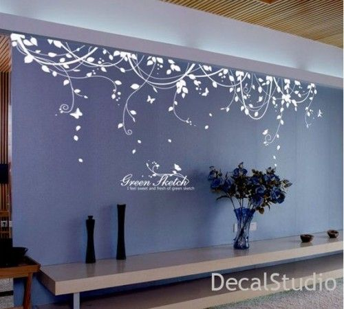 White vinyl sticker wall decal for bedroom living room - Wall sticker ideas for living room ...