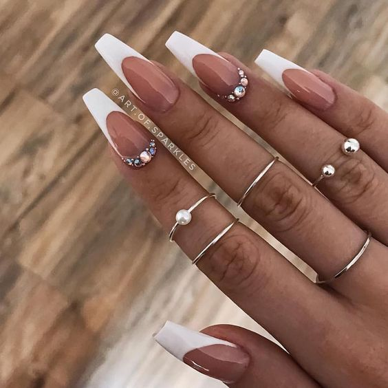 34 Luxury Coffin French Tip Nail Designs French Tip Acrylic Nails French Tip Nail Designs White Tip Nails
