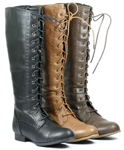 Faux Leather Lace Up Knee High Tall Zipper Military Combat Boots