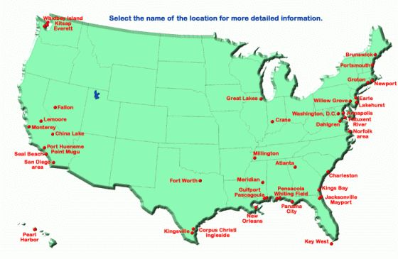 US Map Navy Locations  Military  Pinterest  Navy Military