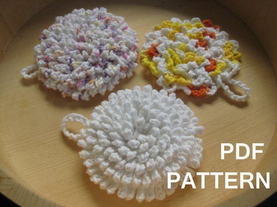 Ultra Nubby Scrubby Tawashi Dishcloth Crochet Pattern via Etsy