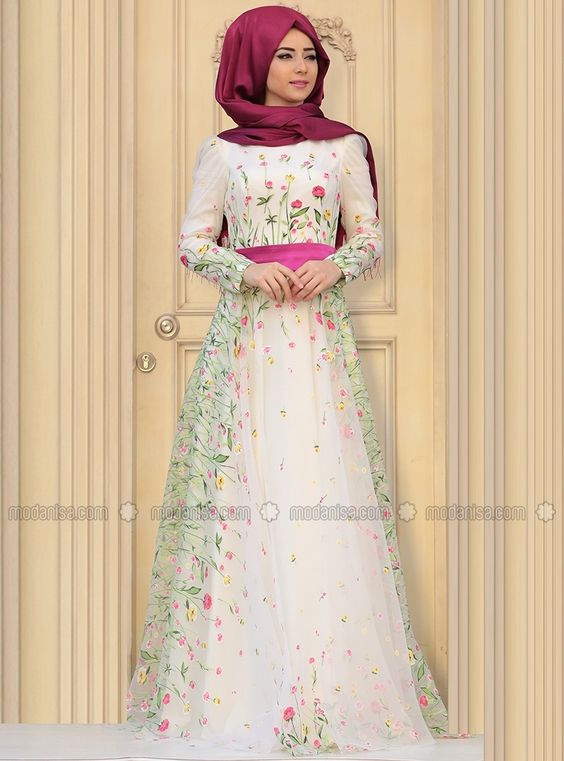 Valerie Evening Dress - Ecru- Muslim Evening Dresses. Modanisa ...
