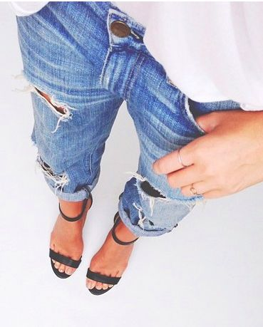 ripped jeans + ankle strap heels