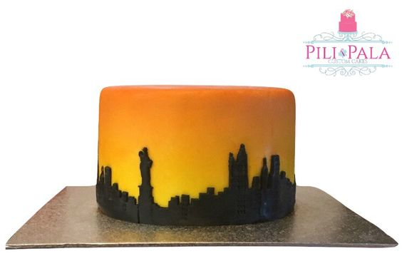 """Simple New York themed birthday cake. This is a mini 6"""" cake that has been airbrushed"""