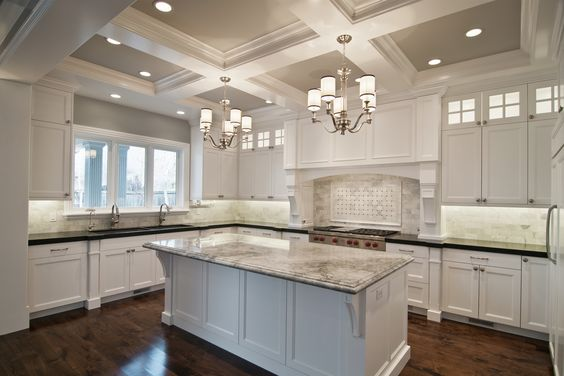 Love the coffered ceiling in the kitchen.