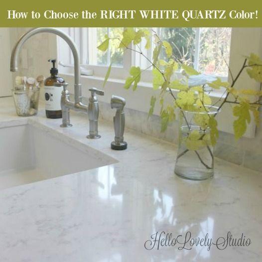 How to Choose the Right White Quartz Color! Hello Lovely Studio #quartz #kitchendesign #countertops