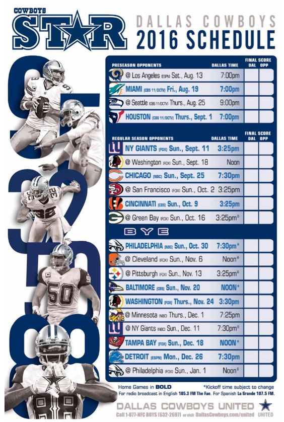 Dallas Cowboys 2016 schedule                                                                                                                                                     More