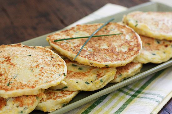 Summer Squash and Chive Pancakes - perfect side dish to eat with chicken, meat or fish.