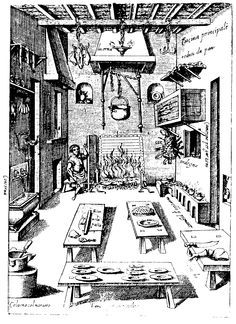 Roasting meat in the main kitchen (note the man turning the spit in front of the fire) - from Il Cuoco Segreto Di Papa Pio V (The Private Chef of Pope Pius V), by Bartolomeo Scappi, Venice, 1570.