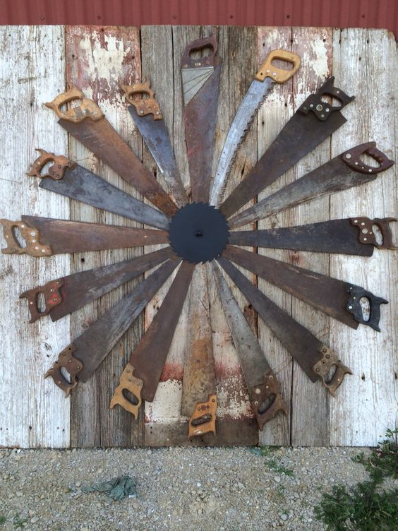 Old barn boards and hand saws.