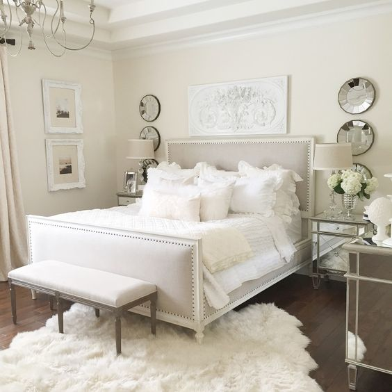 neutral easy master bedroom with restoration hardware bed, white wall, mirrored furniture, fur rug make over...my room