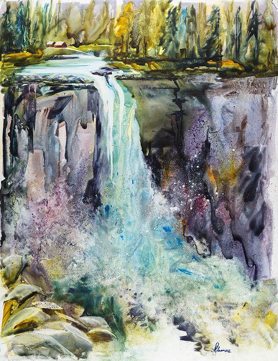 Artist: Herta Klassen, title: Mercy Falls, size: 20x26 inch #HertaKlassen #LandscapePainting #FineArtPainting #WaterfallPainting #ArtScanning #ScanningArtwork #ScanArt #AbcFineArt #VancouverScanning: