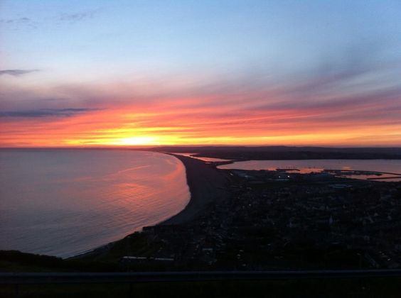 Sunset over Chesil Beach - Portland, Dorset, UK - June 2014 - LR