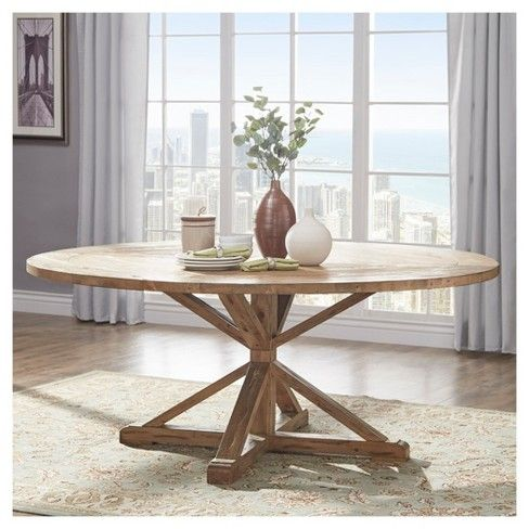Sierra Round Farmhouse Pedestal Base Wood Dining Table 72 Vintage Pine Inspire Q Large Round Dining Table Circle Dining Table Round Wood Dining Table