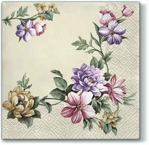 Flores 757 4 Solo Papel Decoupage Servilletas Lila Diseño Ramos de púrpura