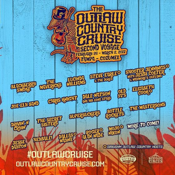 Batten down the hatches! #TheBottleRockets are settin' sail (for real!) on the @siriusxm @outlawcruise in winter 2017! They'll join our pals @old97s, @supersuckers666, @elizabethcookforsheriff, #SteveEarle, and more! Yo ho ho and a bottle of rum (and whiskey and tequila and so on and so on) More info for you brave souls at OutlawCountryCruise.com #outlawcruise