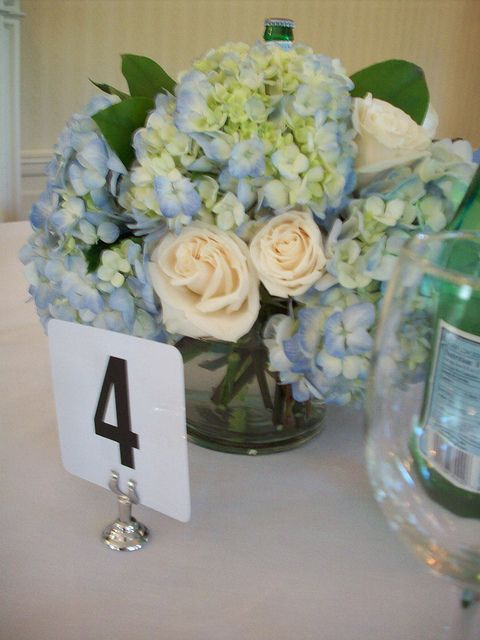 Hydrangea centerpiece add gerbers to this it might be