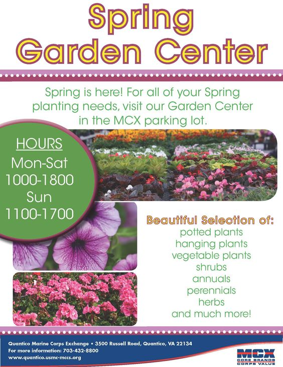 MCX Quantico Spring Garden Center NOW OPEN in MCX Parking Lot!