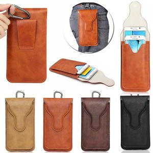 Luxury PU Leather Belt Clip Holster Pouch Flip Case For Samsung Galaxy iPhone