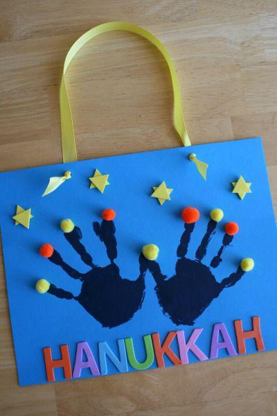 Handprint menorah to celebrate hanukkah from alphamom for Hanukkah crafts for kindergarten