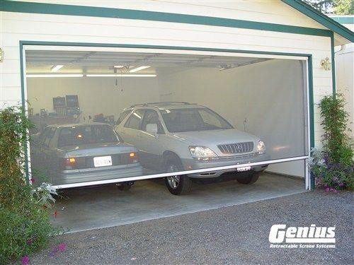 Genius Olympic Pull Down Retractable Screens For Wide Openings Diy Garage Door Garage Door Design Garage Screen Door