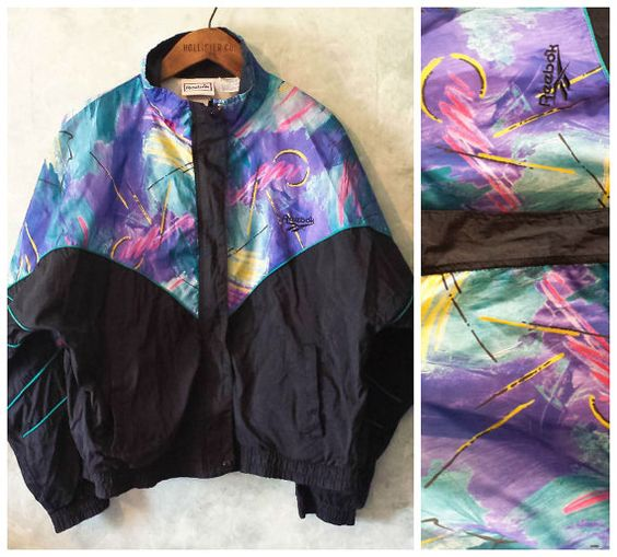 Rad Reebok Neon Windbreaker Jacket - Rare Design - Retro Vintage