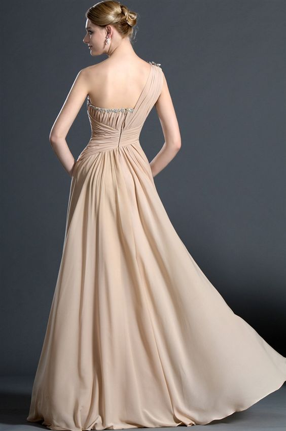 osell wholesale dropship Chiffon Pleated Beading One Shoulder Sleeveless Floor Length A Line Evening Prom Dresses $77.49