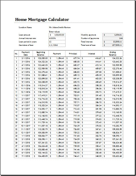 Home Mortgage Calculator Download At HttpWwwXltemplatesOrg