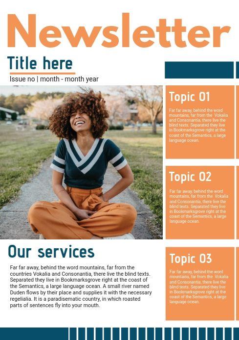 Orange Custom Branded Newsletter Page Newsletter Design Templates Newsletter Templates Newsletter Template Free
