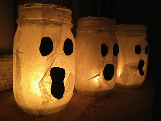 Day 17 - Ghost Candle Halloween Mason Jars. Set of 3 Perfect for Decorating your Home!