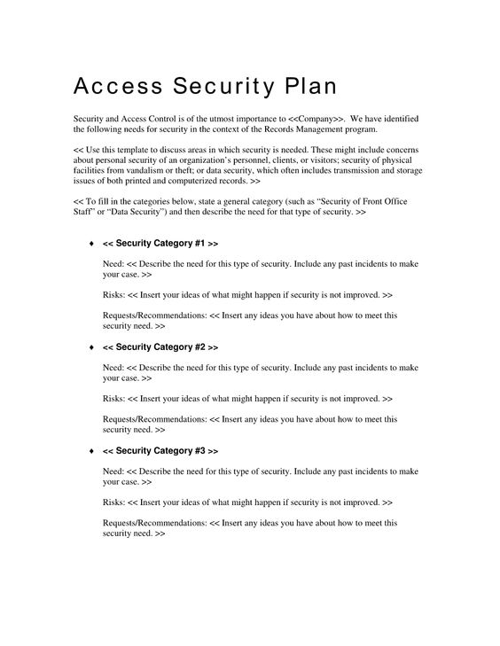 Records Access Security Plan  Use The Records Access Security