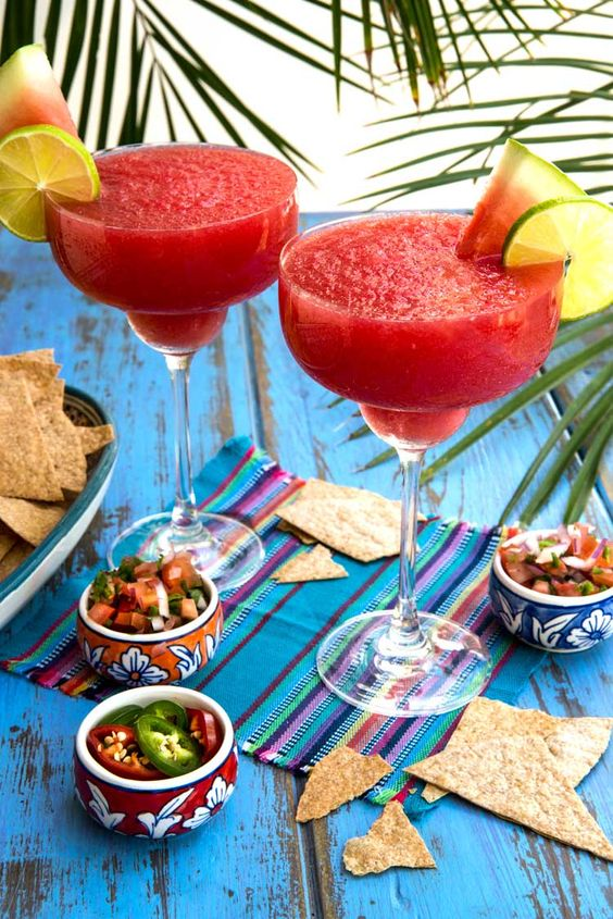 Frozen Watermelon Margarite Recipe is the perfect cocktail for the summer!  It's a refreshing drink with watermelon juice!