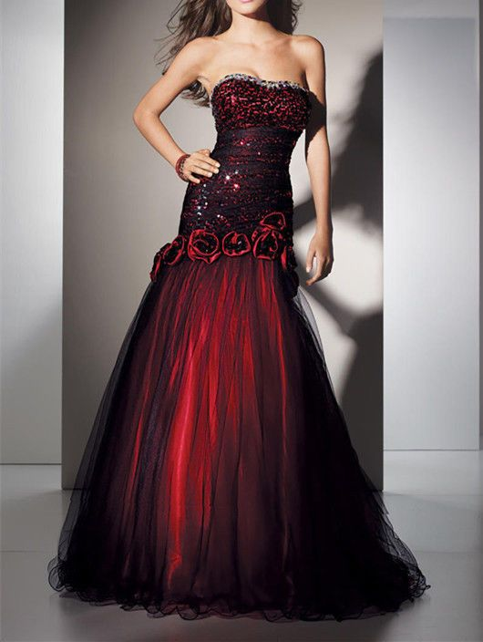 Red And Black Mermaid Quinceanera Dresses Gothic Wedding Dress Formal Prom Gowns Ebay Red Prom Dress Lace Bridesmaid Dresses Gothic Wedding Dress