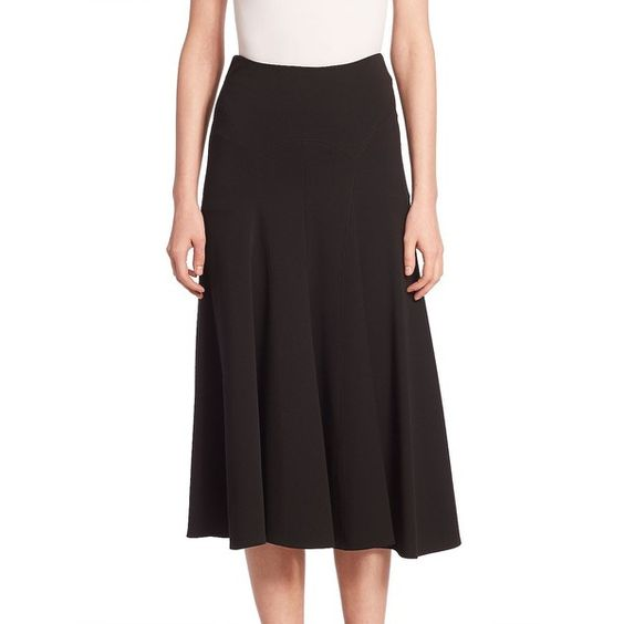 Derek Lam Jersey Trumpet Skirt (7.470 NOK) ❤ liked on Polyvore featuring skirts, apparel & accessories, black, long midi skirt, mid calf skirts, long pleated skirt, calf length skirts and knee length pleated skirt