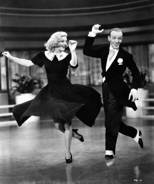 """Ginger Rogers (1911-1995), with Fred Astaire (1899-1987), in George Stevens' film, """"Swing Time,"""" 1936"""