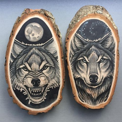 Kirsten Roodbergen Is An Illustrator And A Tattoo Artist From Amersfoort Netherlands She Has Been Making Tatto Wood Slice Art Wood Burning Art Wooden Artwork