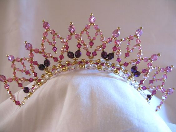 Tiara Becstar Fuschia Buy Dance tiaras, Swarovski crystal beaded headpieces for ballet dancers: