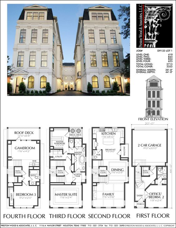 Townhouse plan d9132 lots 1 4 plans pinterest for House plans with elevators waterfront